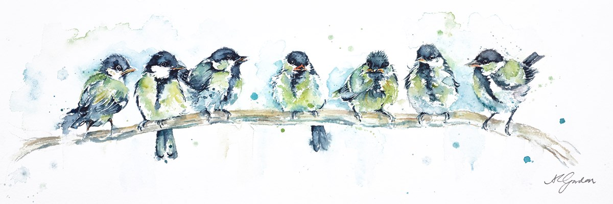 Little Tearaways - Great Tit Fledglings by amanda gordon -  sized 19x6 inches. Available from Whitewall Galleries